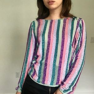 ASOS Sequin Stripe Long Sleeve Top SZ 6